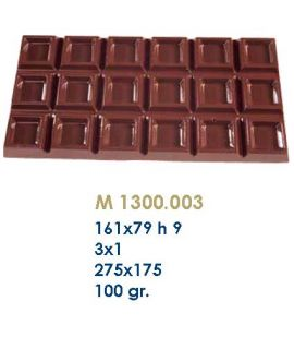 MOLDE TABLETA CHOCOLATE 161x79 H=9mm.3x1und.100gr