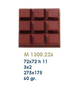 MOLDE TABLETA CHOCOLATE 72x72 H=11mm.3x2und.60gr