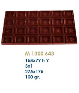 MOLDE TABLETA CHOCOLATE 158x79 H=9mm. 3x1und.100gr
