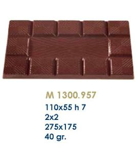 MOLDE TABLETA CHOCOLATE 110x55 H=7mm. 2x2 und.40gr